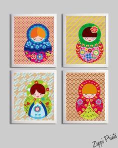 Nursery Girl Art Prints Matryoshka Russian Doll by ZeppiPrints. , via Etsy.