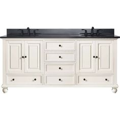 Avanity THOMPSON-VS72-FW-A Thompson Double Bowl Bathroom Vanity with Black Granite Top French White  #country #rustic #bathroomideas #bathroomvanity #bathroomdesign