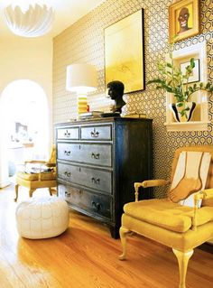 This isn't me.  But I love it!  Yellow and black (and navy?) living room