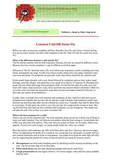 Patients Speak: Is it Common Cold or Swine Flu?