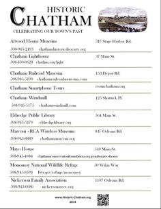 Poster: Historic Chatham. For the 2014 summer season here is the Historic Chatham poster featuring all of the historic sites in Chatham, MA. #historicchatham, #chathamhistoricalsociety, #atwoodhouse, #chatham, #capecod