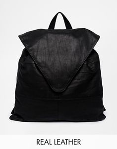 Asos Leather Backpack With Pointed Flap - Black on shopstyle.co.uk