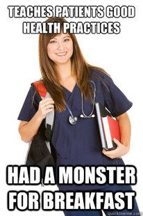 """Lol...I didn't have a monster---Mine should read """"Teaches dumbass teenage girls how to prevent UTI's....only got to pee once in her shift!"""""""