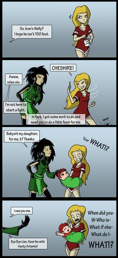 Young Justice: Babysitter by ~MonteCreations on deviantART. Can't wait to see Artemis's face when she realizes who her niece's father is....