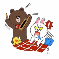Line Cony, Cute Drawings Of Love, Cony Brown, Bunny And Bear, Brown Line, Cartoon Stickers, Line Friends, Line Sticker, Love Gifts