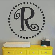 Fancy Family Nursery Or Business Name Initial Decal Discover - Monogram wall decals for business