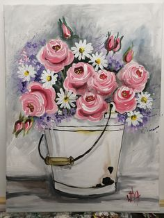 By Wilma Potgieter Girls With Flowers, Flower Paintings, Pink Roses, Painting & Drawing, Drawings, Paintings Of Flowers, Flower Pictures, Sketches, Drawing