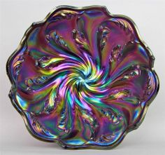 """ACANTHUS by IMPERIAL ~ SPLENDID PURPLE CARNIVAL GLASS 8"""" x 3"""" ROUND BOWL"""