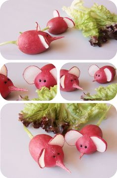 Invatam sa facem decupaje artistice in legume de sezon – 31 de idei practiceA la PinkCuisine on adore les radis mais en petite souris - pinboardMice or Elephants.This Pin was discovered by Sha Deco Fruit, Food Garnishes, Garnishing, Creative Food Art, Childrens Meals, Fruit And Vegetable Carving, Food Carving, Snacks Für Party, Food Decoration