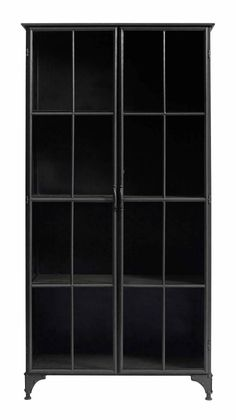A mid-sized industrial style display cabinet in black iron and glass from Nordal's Downtown range. Order now for FREE UK delivery! Mirrored Furniture, French Furniture, Luxury Furniture, Oversized Furniture, Glass Cabinet Doors, Sideboard Cabinet, Glass Doors, Wall Display Cabinet, Tall Cabinet Storage