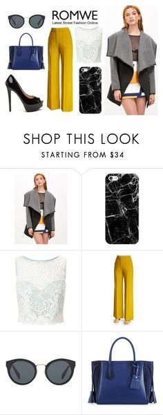 """""""Black-And-Grey Coat"""" by taylorgarcia-iii ❤ liked on Polyvore featuring Casetify, Miss Selfridge, ADAM, Prada and Longchamp"""