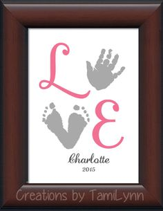 Baby Girl LOVE Footprint & Handprint - Personalized Baby/Child's Room, Girl's room, newborn decor