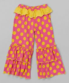 Look what I found on #zulily! Pop Pink Sunny Dot Bella Ruffle Pants - Infant, Toddler & Girls by Mustard Pie #zulilyfinds