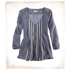 Aerie Chambray Paneled Blouse ($35) ❤ liked on Polyvore