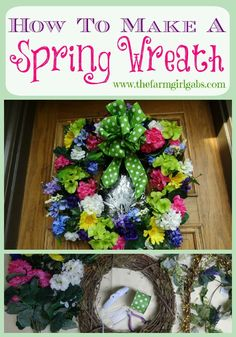 Easy steps to make a beautiful DIY Grapevine Spring Flower Wreath for your front door.