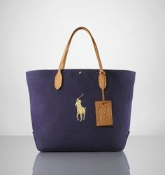 Canvas and Leather City Tote In Navy  66.28 Sac Ralph Lauren d04628831fb89