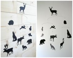Woodland Mobile • Forest Animals • Deer Moose Bear Elk Wolf Fox Beaver Hare • Baby Crib Nursery Cot • Modern Scandinavian • Baby Shower Gift by LoveLouHome on Etsy https://www.etsy.com/listing/457454936/woodland-mobile-forest-animals-deer