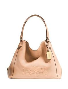 COACH Embossed Horse and Carriage Edie Shoulder Bag in Pebbled Leather Handbags - Bloomingdale's Discount Coach Bags, Coach Bags Outlet, Cheap Coach Bags, Coach Handbags, Coach Purses, Purses And Handbags, Leather Handbags, Leather Bags, Swagg