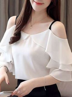 blusas mujer de moda 2019 womens tops and blouses chiffon blouse Hanging bandwidth is thin and thin womens clothing 3571 50 Designs For Dresses, Dress Neck Designs, Blouse Designs, Teen Fashion Outfits, Fashion Dresses, Stylish Tops For Women, Jugend Mode Outfits, Blouses For Women, Clothes
