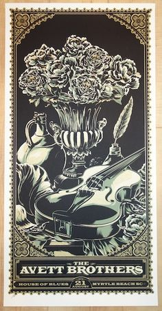 "The Avett Brothers - silkscreen concert poster (click image for more detail) Artist: Ken Taylor Venue: House of Blues Location: Myrtle Beach, SC Concert Date: 8/21/2010 Size: 12"" x 24"" Edition: Artist"