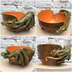 Dragon yarn bowl in green brown and burnt orange glaze. Ceramic Clay, Ceramic Painting, Ceramic Pottery, Clay Projects, Clay Crafts, Deco Jungle, Kids Clay, Yarn Storage, Yarn Bowl