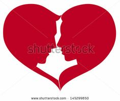 man and woman silhouette in heart shape - stock vector