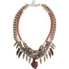 DANNIJO Levi III oxidized silver-plated, bead and suede necklace found on Polyvore featuring polyvore, women's fashion, jewelry, necklaces, accessories, brass, multi colored necklace, pendant necklace, colorful necklace and silver plated necklace