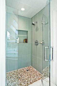:arge format glass tiles. Pleasantville, NY - contemporary - bathroom - new york - Luminosus Designs LLC