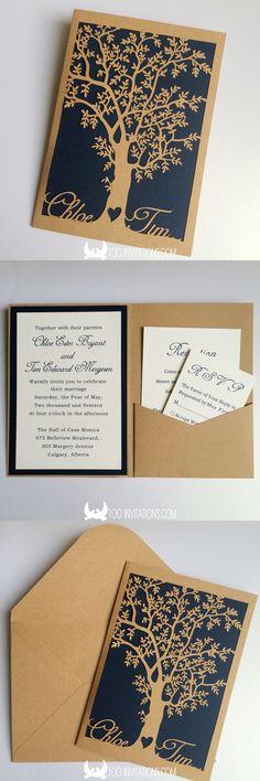 Custom Laser Cut Bride And Groom's Name Tree Pocket Wedding Invitations
