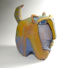 Cat art, sculpture, Ring Tail Fat Cat in the Rainbow. $125.00, via Etsy.