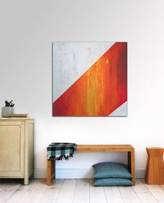 """Original Abstract painting - Abstract Sunny Orange Stipes -31,5"""" (80cm) x 31,5"""" (80cm) Ronald Hunter"""