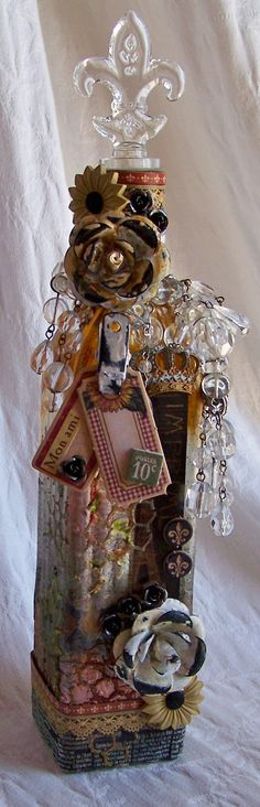 Altered Bottle for eclectic Paperie