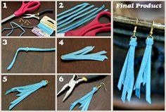 #DIY  - Brincos simples de camurça-  Anthro Blue Tassel Earrings DIY