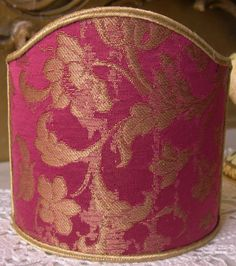 Wall Sconce Clip On Shield Shade in Cardinal and Gold Silk Jacquard Rubelli Les Indes Galantes Pattern