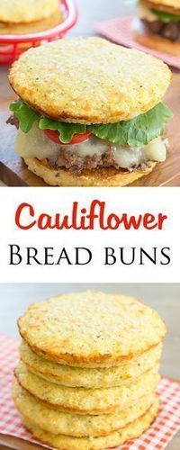 Cauliflower Bread Buns. Low carb and gluten free! Gluten Free Recipes, Low Carb Recipes, Diet Recipes, Vegetarian Recipes, Cooking Recipes, Healthy Recipes, Bread Recipes, Chicken Recipes, Vegetarian Food