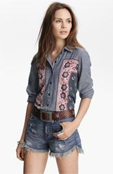 Free People Born Free Floral Panel Shirt