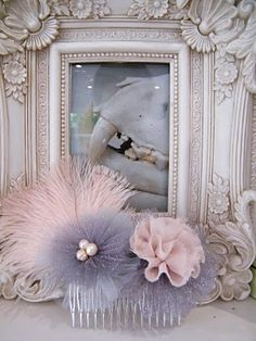 pink and grey fascinator