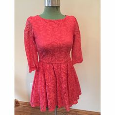TOPSHOP Pink Lace 3/4 Sleeve Dress - Petite Hot pink, Allover lace 3/4 sleeve dress. Lined. Zipper closure in back. Sleeves are sheer lace. Excellent condition. Can be worn with or without tights. Size 0-Petite. Topshop Dresses Mini
