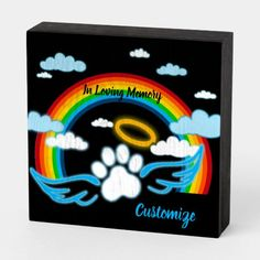 Shop Angel Paws Rainbow Memorial Wooden Box Sign created by thepawkinglot. Creature Comforts, Box Signs, In Loving Memory, Pet Memorials, Custom Boxes, Pet Shop, Accent Pieces, Wooden Boxes, Wooden Signs