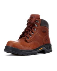 <p>Genuine full-grain leather upper. Air mesh and mesh lining. Removable full-cushion polyurethane footbed. Single density polyurethane midsole. Cement construction. Lightweight nylon shank fights fatigue. Steel toe rated ASTM F2413-05 F I/75 C/75 EH.</p>