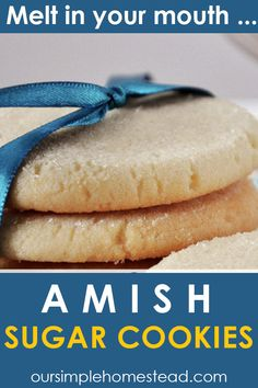 Simple Amish Sugar Cookies There aren't many sugar cookies I say don't need frosting but these are an exception to that rule. These super simple no roll, no chill Amish Sugar Cookies are perfect for any occasion. This soft cookie is a no-fuss recipe that will surelybe a hit with your family.  #amishrecipes #cookies #sugarcookies #amish Amish Sugar Cookies, Sugar Cookies Recipe, Peanut Butter Cookies, No Bake Cookies, Cookie Recipes, Dessert Recipes, Desserts, Pennsylvania Dutch Recipes, Chocolate Crinkles