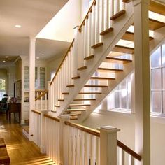 Three Story Staircase W Open Risers Maximize Southerly Light