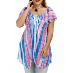 Plus Size Colorful Smock Tunic Asymmetrical Top Plus Clothing, Trendy Plus Size Clothing, Plus Size Outfits, Asymmetrical Tops, Plus Size Tops, Smocking, Vintage Outfits, Tie Dye, Tunic