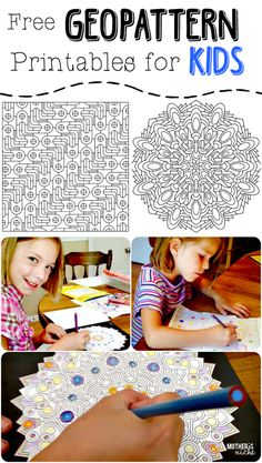 These GeoPattern coloring pages entertain such a WIDE range of ages! From toddlers clear to high school students. its says for kids. but I want to color these :) School Age Activities, Activities For Kids, Indoor Activities, Colouring Pages, Coloring Books, Art For Kids, Crafts For Kids, Ecole Art, Coloring For Kids