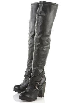 Black Thigh High Boots Riding Motorcycle Flat Tall Biker Buckle ...