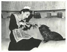 Margaret Hamilton and Terry the Cairn from the Wizard of Oz