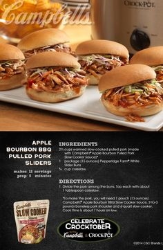 Apple Bourbon BBQ Pulled Pork Sliders - Topped with prepared cole slaw, these scrumptious sandwiches will disappear in a flash!Enter for a chance to WIN a Crock-Pot® Slow Cooker and 2 Campbell's® Slow Cooker Sauces at campbellsauces.com. No purchase necessary, Age 18+, Ends 10/31/14, Void where prohibited.