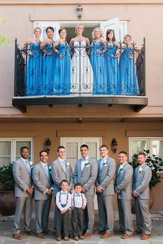 """Charleston Wedding - Gray Groomsmen Suits - Baby Blue Wedding - Cool balcony shot at the Inn at I'On (Bill Levkoff Bridesmaids cornflower blue <a class=""""pintag searchlink"""" data-query=""""%23778"""" data-type=""""hashtag"""" href=""""/search/?q=%23778&rs=hashtag"""" rel=""""nofollow"""" title=""""#778 search Pinterest"""">#778</a>)"""