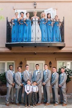 Charleston Wedding - Gray Groomsmen Suits - Baby Blue Wedding - Cool balcony shot at the Inn at I'On (Bill Levkoff Bridesmaids cornflower blue #778)