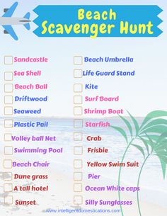 Keep everyone busy at the beach with our free printable scavenger hunt. Fun for kids and adults too! It's a fun beach activity the whole family can enjoy. Fun Beach Games, Beach Games For Adults, Beach Activities, Beach Fun, Beach Trip, Games For Kids, Activities For Kids, Beach Party, Beach Ideas
